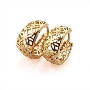 Feshionn IOBI Earrings Yellow Gold 18K Gold Filigree Flower Petite Huggie Earrings