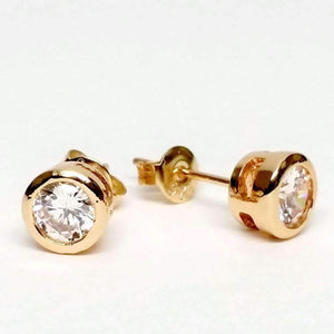 Feshionn IOBI Earrings Yellow Gold 5mm ON SALE - Bezel IOBI Crystals Stud Earrings