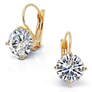 Feshionn IOBI Earrings Yellow Gold Bold 7 CTW Solitaire Leverback Earrings in Yellow, Rose or White Gold