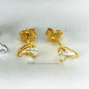 Feshionn IOBI Earrings Yellow Gold Delicata D'ora Pear Shape .35CT IOBI Cultured Diamond Solitaire Stud Earrings