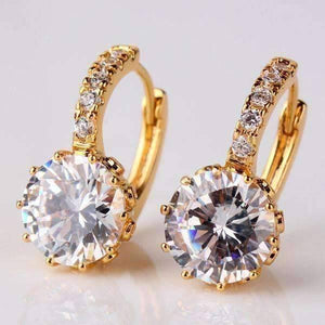 Feshionn IOBI Earrings Yellow Gold Diamond CZ Solitaire Hoop Earrings In White Or Yellow Gold