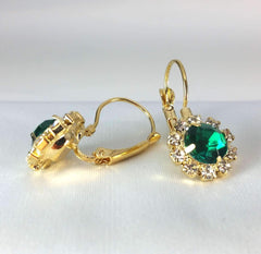 Feshionn IOBI Earrings Yellow Gold Emerald Crystal Flower Drop Lever Back Earrings - White or Yellow Gold