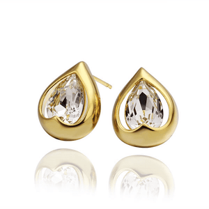 Feshionn IOBI Earrings Yellow Gold Everlasting Love Drop Stud Earrings