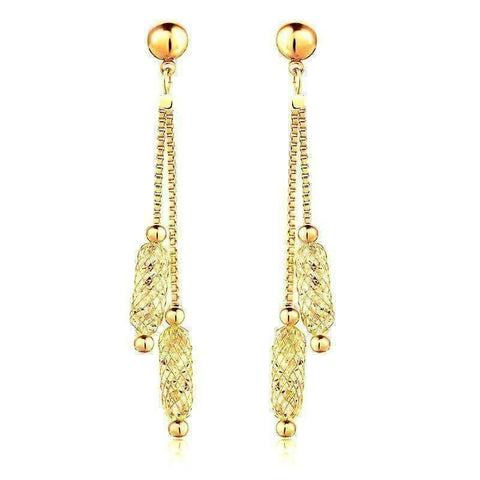 Feshionn IOBI Earrings Yellow Gold Glistening Stardust Crystals Rose Gold Or Yellow Gold Dual Dangling Chain Drop Earrings