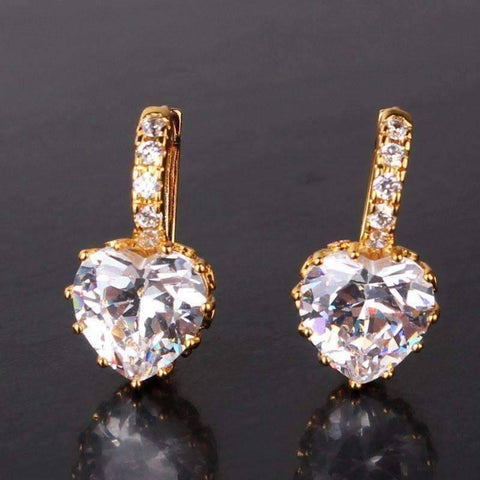 Feshionn IOBI Earrings Yellow Gold Heart Shaped Diamond CZ Solitaire Hoop Earrings In White Or Yellow Gold