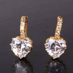 ON SALE - Heart Shaped Diamond CZ Solitaire Hoop Earrings In White Or Yellow Gold