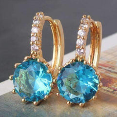 Feshionn IOBI Earrings Yellow Gold ON SALE - Blue Topaz CZ Solitaire Gold Plated Hoops