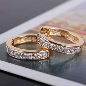 Feshionn IOBI Earrings Yellow Gold ON SALE - Channel Set Sparkly CZ Diamond Petite Hoop Earrings