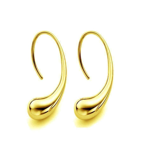 Feshionn IOBI Earrings Yellow Gold ON SALE - Chic Tear Drop Silver or Gold Hook Earrings