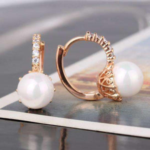 Feshionn IOBI Earrings Yellow Gold ON SALE - Pearl Bead Solitaire Hoop Earrings