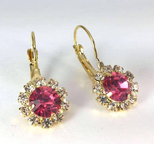 Feshionn IOBI Earrings Yellow Gold Pink Crystal Flower Drop Earrings ~ White or Yellow Gold