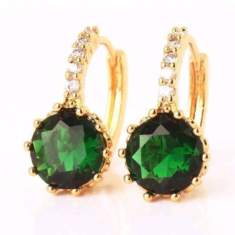 Feshionn IOBI Earrings Yellow Gold plated Amazon Green CZ Solitaire White Or Yellow Gold Hoop Earrings