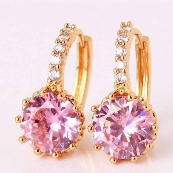 ON SALE - Blushing Pink Solitaire White Or Yellow Gold Hoop Earrings