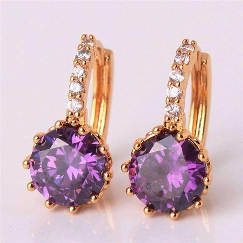 Feshionn IOBI Earrings Yellow Gold plated Cosmic Purple CZ Solitaire White Or Yellow Gold Hoop Earrings