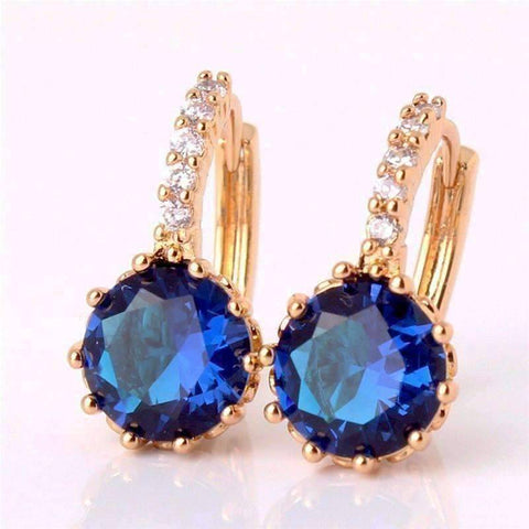 Feshionn IOBI Earrings Yellow Gold plated ON SALE - Sapphire Blue Solitaire White Or Yellow Gold Hoop Earrings