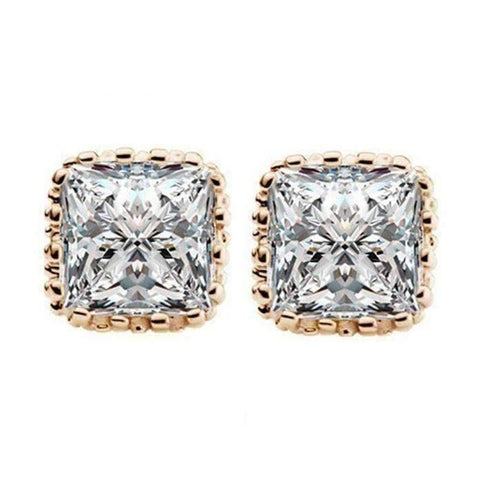 Feshionn IOBI Earrings Yellow Gold Plated Royal Princess 7mm Cut Simulated White Or Pink Sapphire Stud Earrings
