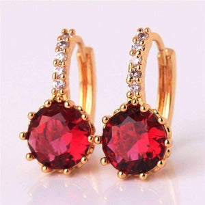 Feshionn IOBI Earrings Yellow Gold plated Ruby Red CZ Solitaire White Or Yellow Gold Hoop Earrings
