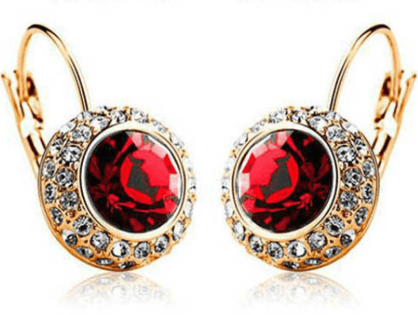 Feshionn IOBI Earrings Yellow Gold / Ruby Colorful Bezel Set IOBI Crystals Earrings
