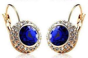 Feshionn IOBI Earrings Yellow Gold / Sapphire Colorful Bezel Set IOBI Crystals Earrings