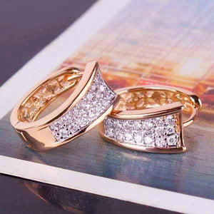 Feshionn IOBI Earrings Yellow Gold Triple Pave Filigree Petite Hoops 18k Gold Plated