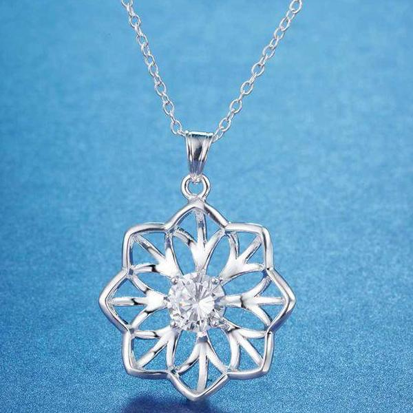 Sparkling Sunflower CZ Sterling Silver Necklace