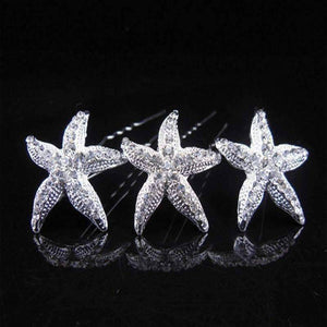 Feshionn IOBI Hair Jewelry 1 / Silver Large Crystal Accented Starfish Silver Plated Hair Pins