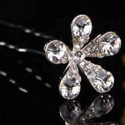 Feshionn IOBI Hair Jewelry 1 / Silver Small Crystal Encrusted Flower Silver Plated Hair Pins