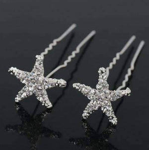Feshionn IOBI Hair Jewelry 1 / Silver Small Crystal Encrusted Starfish Silver Plated Hair Pins