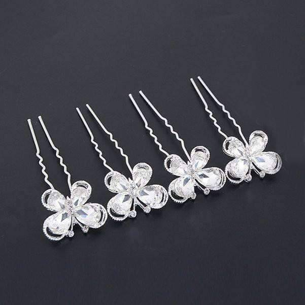 Feshionn IOBI Hair Jewelry 1 / Silver Crystal Wings Silver Plated Butterfly Hair Pins