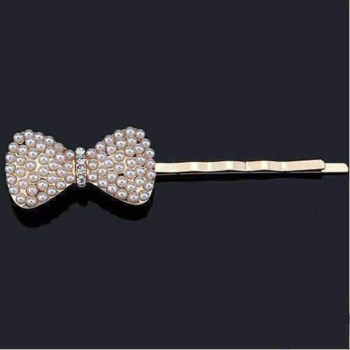 Feshionn IOBI Hair Jewelry Bow Dainty Dress Up Pearl and Crystal Hair Pins