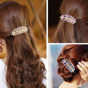 Feshionn IOBI Hair Jewelry Deep Pink Laurel Leaf Gold Hair Barrette 6 Fashionable Colors to Choose!