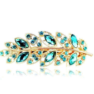 Feshionn IOBI Hair Jewelry Emerald Laurel Leaf Gold Hair Barrette 6 Fashionable Colors to Choose!
