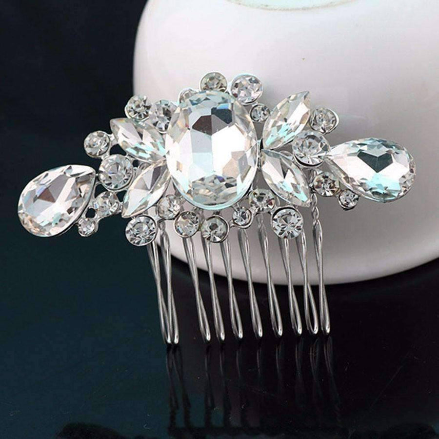 Feshionn IOBI Hair Jewelry Silver Facets Crystal and Silver Plated Hair Comb
