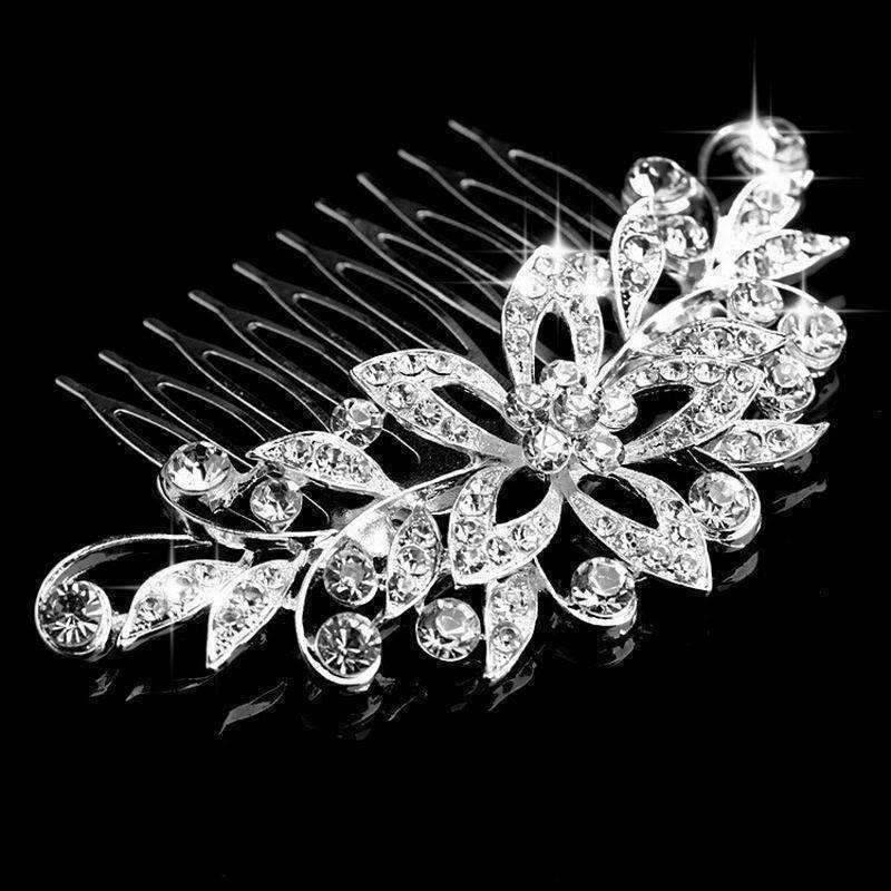 Feshionn IOBI Hair Jewelry Silver Fantasy Flowers Crystal and Silver Plated Hair Comb