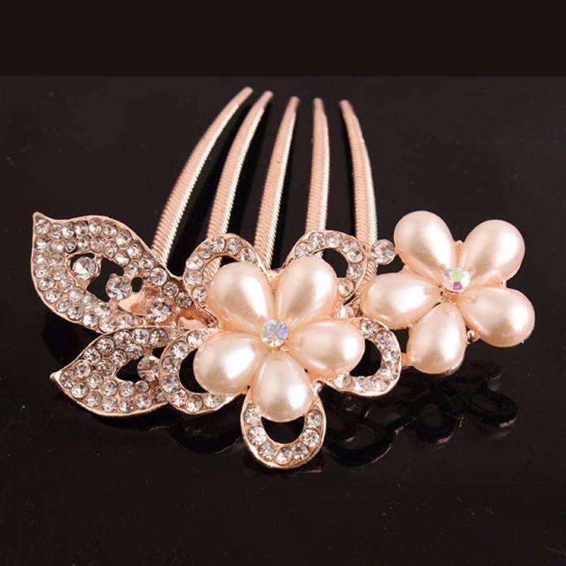 Feshionn IOBI Hair Jewelry Gold Bouquet Crystal and Pearl Flower Gold Plated Hair Comb