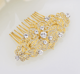 Feshionn IOBI Hair Jewelry Gold Vintage Style Crystal and Filigree Hair Comb