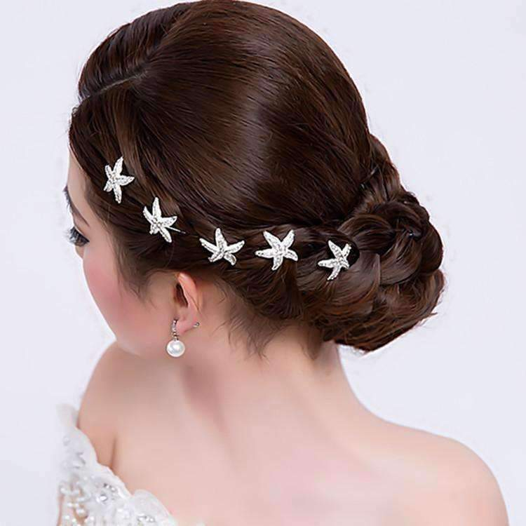 Feshionn IOBI Hair Jewelry Large Crystal Accented Starfish Silver Plated Hair Pins