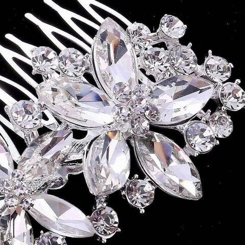 Feshionn IOBI Hair Jewelry Pretty Petals Crystal Flowers Silver Plated Hair Comb