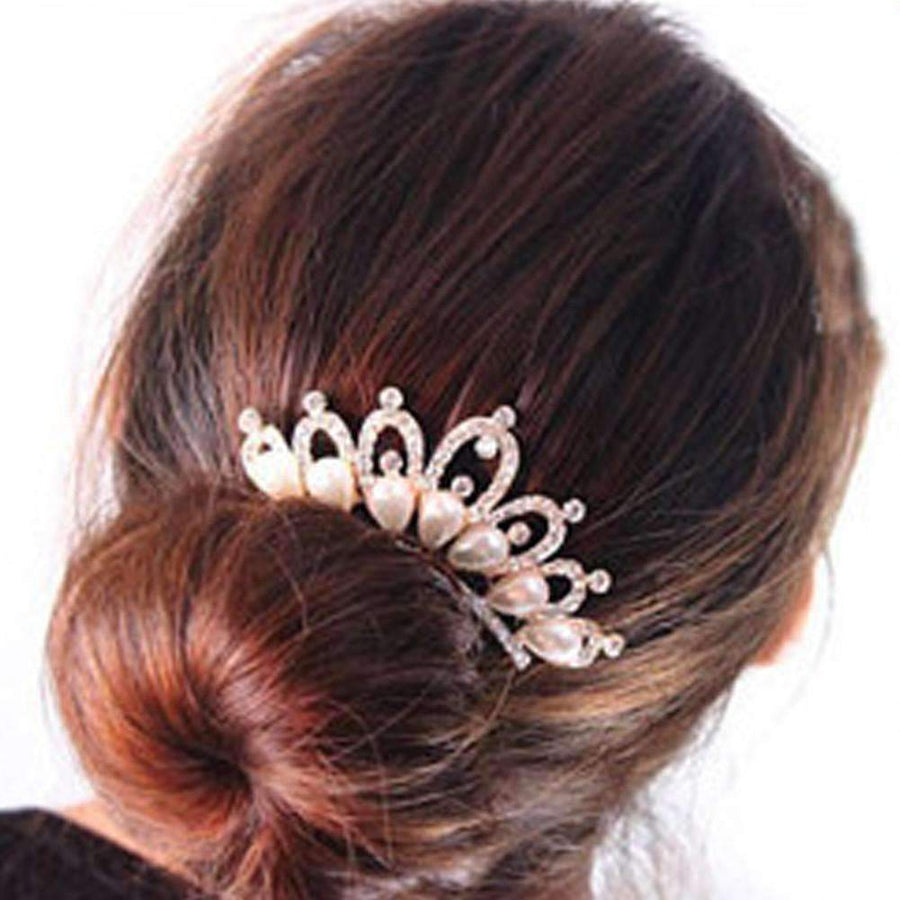 Feshionn IOBI Hair Jewelry Gold Princess Pearl and Crystal Crown Gold Plated Hair Comb