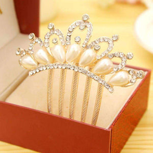 Feshionn IOBI Hair Jewelry Princess Pearl and Crystal Crown Gold Plated Hair Comb
