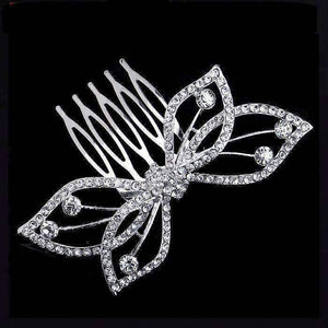 Feshionn IOBI Hair Jewelry Silver Butterfly Bow Crystal and Silver Plated Hair Comb