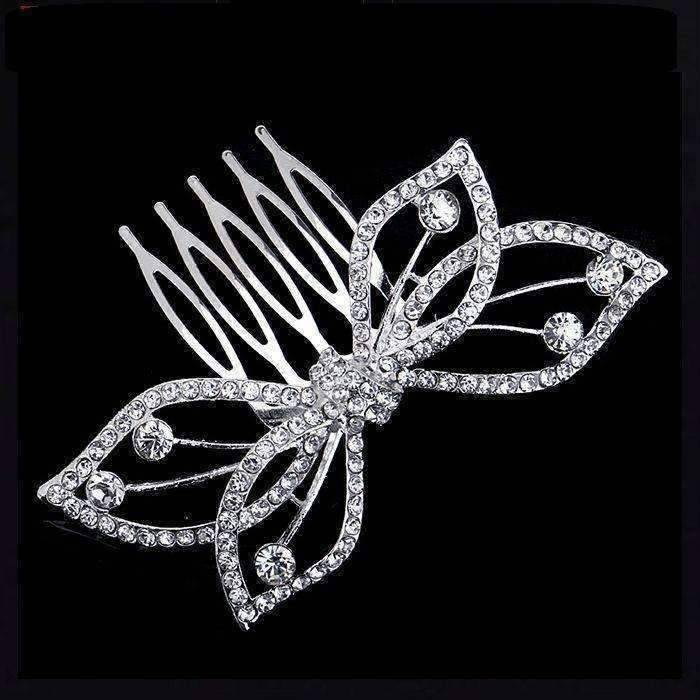 Feshionn IOBI Hair Jewelry Butterfly Bow Crystal and Silver Plated Hair Comb