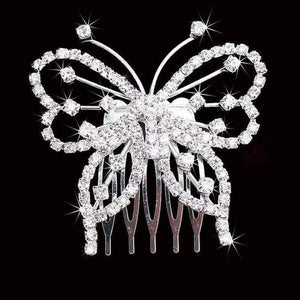Feshionn IOBI Hair Jewelry Silver Butterfly Silhouette Crystal and Silver Plated Hair Comb
