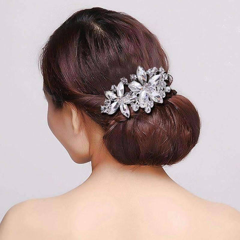 Feshionn IOBI Hair Jewelry Silver Pretty Petals Crystal Flowers Silver Plated Hair Comb