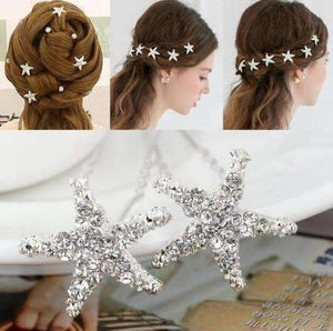 Feshionn IOBI Hair Jewelry Small Crystal Encrusted Starfish Silver Plated Hair Pins