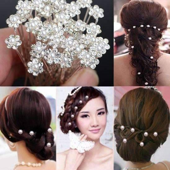 Feshionn IOBI Hair Jewelry Aqua / 1 Small Pearl & Rhinestone Flower Hair Pins in 12 Elegant Colors