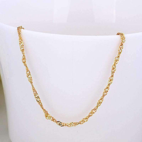 Feshionn IOBI Necklaces 18 inch Fine Singapore Link Chain Necklace in Three Colors