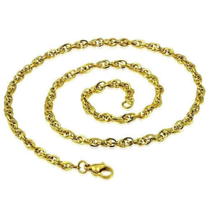 Feshionn IOBI Necklaces 18 inch Link Style 18k Gold Plated Stainless Steel Necklace Chain