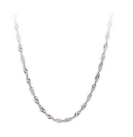 Feshionn IOBI Necklaces 18 inch Thin Sterling Silver Fine Singapore Link Chain Necklace in 18, 20 or 22 inches