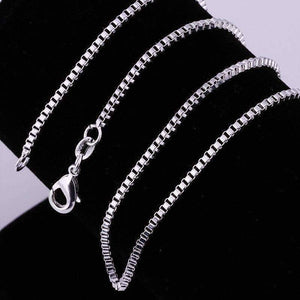Feshionn IOBI Necklaces 18 Silky Silver Box Link Chain Necklace 18, 20 or 22 inches
